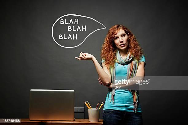 Woman talking continuously, blah blah blah speech bubble