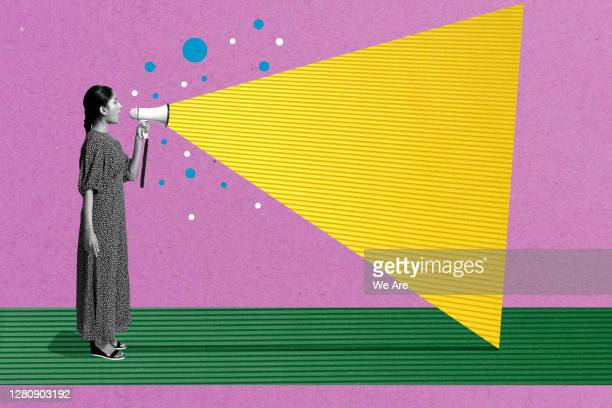 woman talking with megaphone - ideas stock pictures, royalty-free photos & images