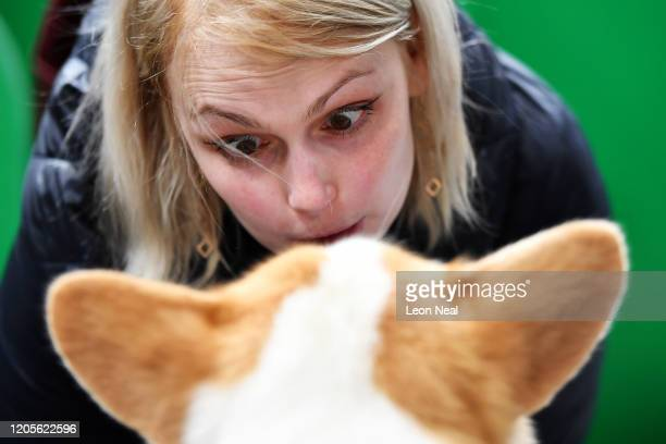 Woman talks to a Welsh Corgi on day 3 of the Crufts dog show at the NEC Arena on March 7, 2020 in Birmingham, England. The annual four-day show will...