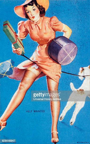 Woman Tangled in Dog Leash While Holding Gift Boxes 'Help Wanted' Mutoscope Card 1940's