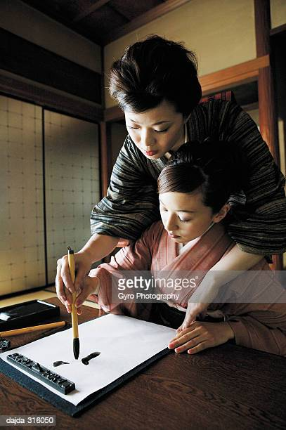 Woman teaching a shodo