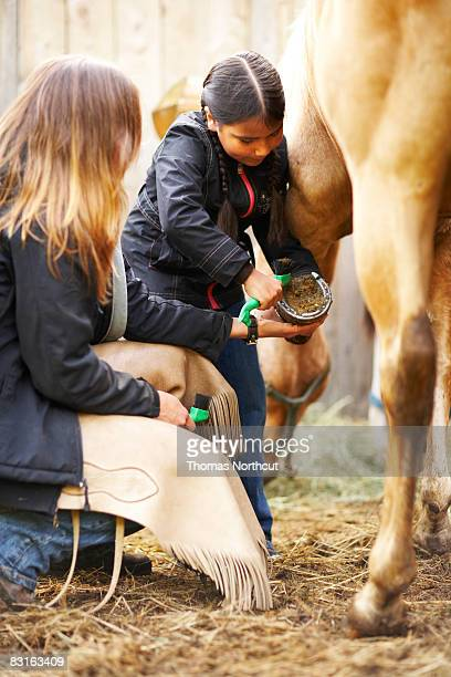 Woman teaching girl how to groom a horse.