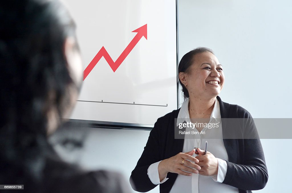 Woman team leader manager Leads a Business Meeting : Foto de stock