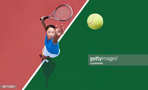 woman tennis player serving - serving sport stock pictures, royalty-free photos & images