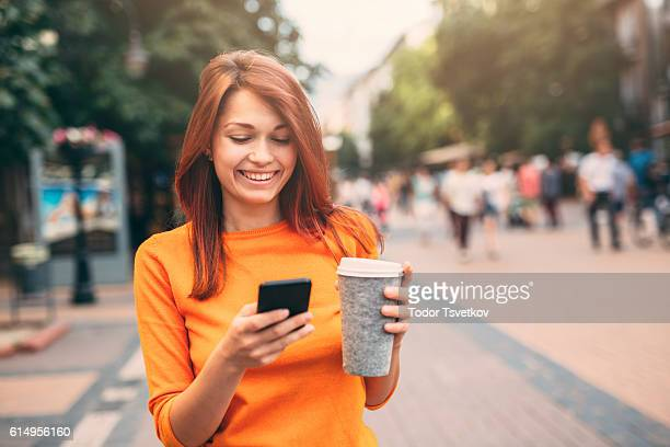 Woman texting outdoor