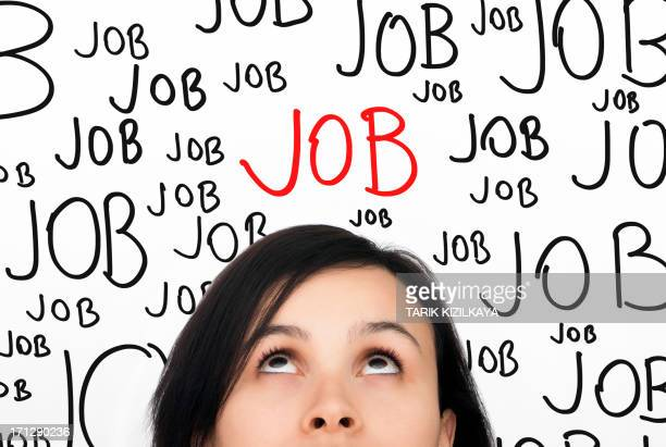 A woman thinking about a job with the word job over her head