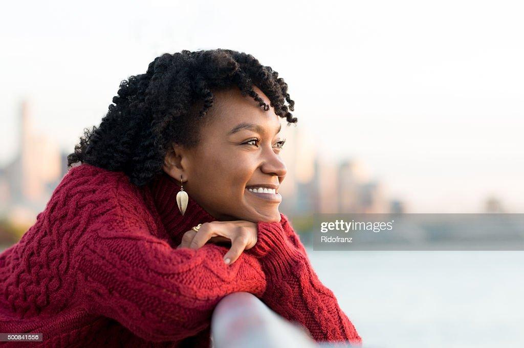 Woman thinking outdoor : Stock Photo