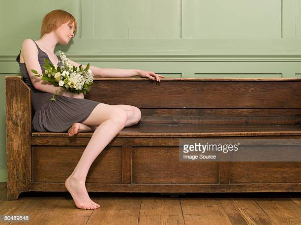 a woman thinking - barefoot redhead stock photos and pictures