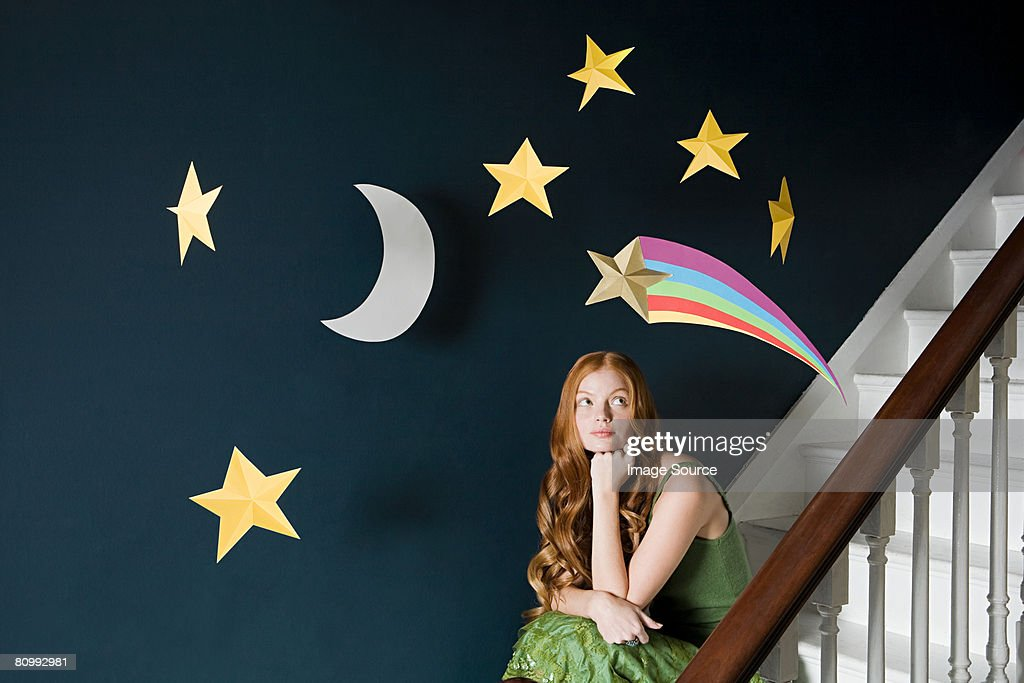 A woman thinking : Stock Photo