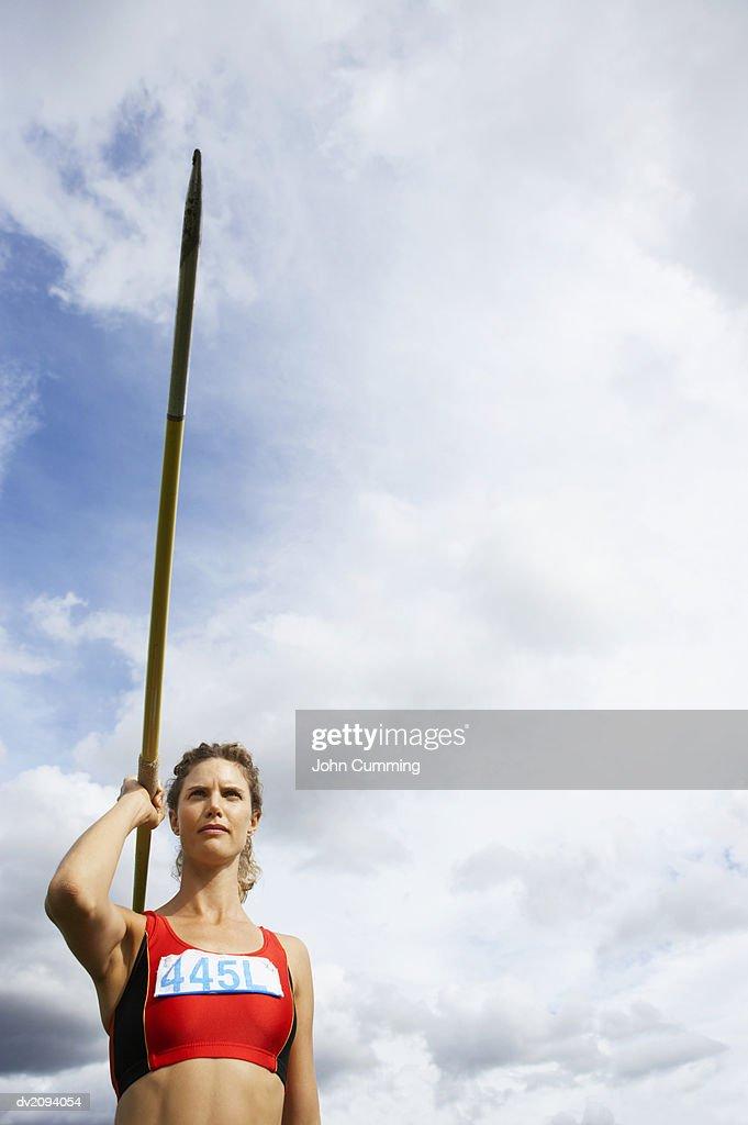 Woman Throwing a Javelin : Stock Photo