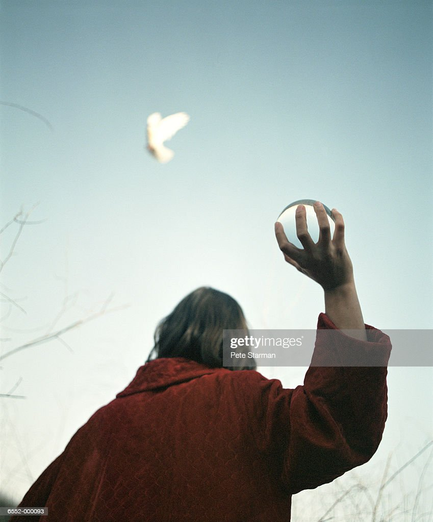 Woman Throwing Crystal Ball : Foto de stock