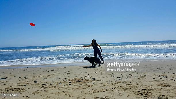 Woman Throwing Plastic Disc To Dog At Beach Against Clear Blue Sky