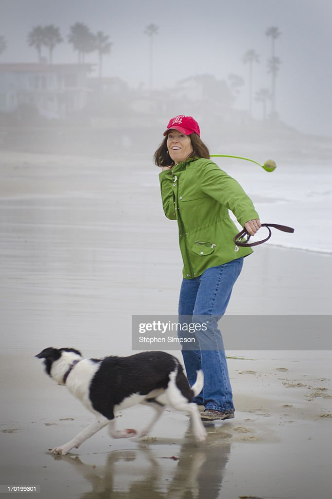 woman throwing tennis ball on the beach for her do : Stock Photo