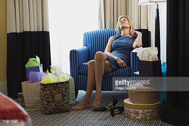 Woman tired from shopping
