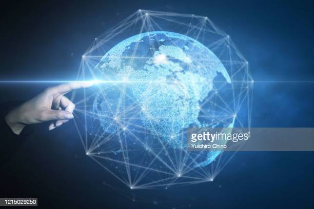 woman touching digital global network - big tech stock pictures, royalty-free photos & images