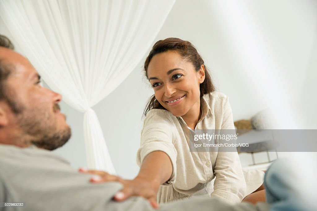 Woman Touching Mans Chest High-Res Stock Photo - Getty Images