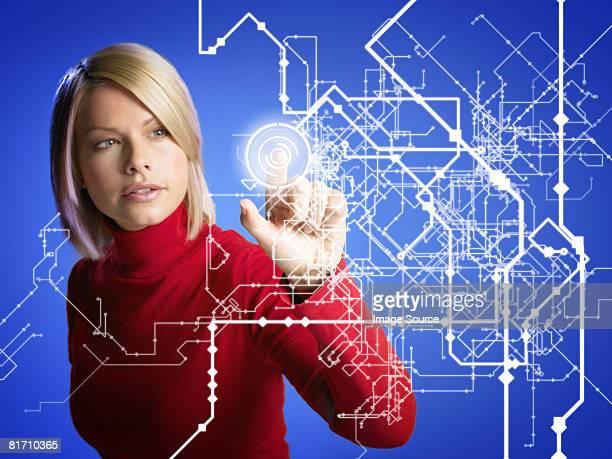 Woman touching pattern