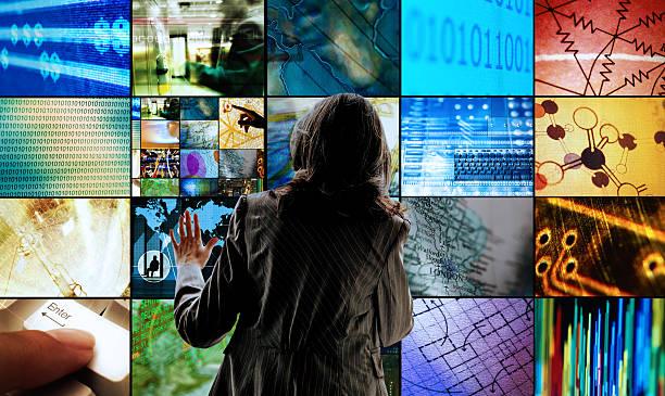 Woman Touching Screens Wall Art