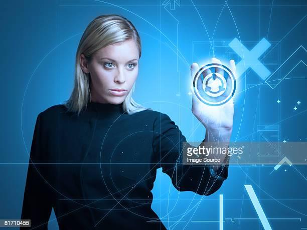 Woman touching shape