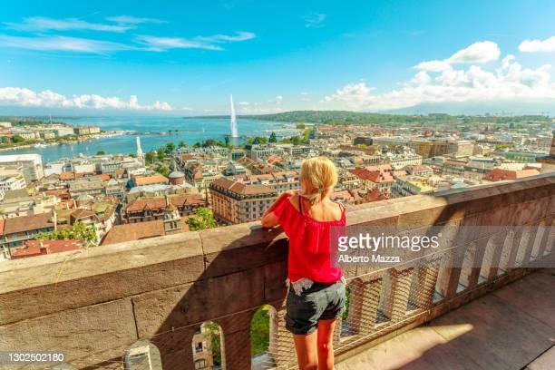 woman tourist at geneva aerial - geneva switzerland stock pictures, royalty-free photos & images