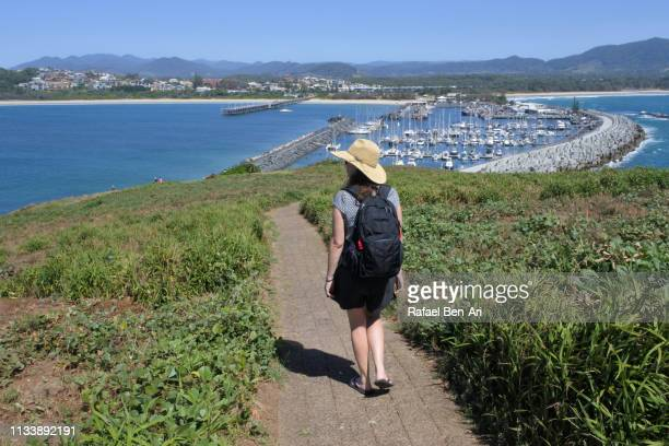 woman tourist hiking in coffs harbour nsw australia - rafael ben ari stock pictures, royalty-free photos & images