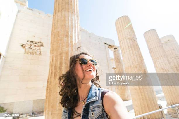 Woman tourist in Acropolis - Athens