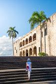 Woman tourist in the Colonial Zone. Santo Domingo, Dominican Republic