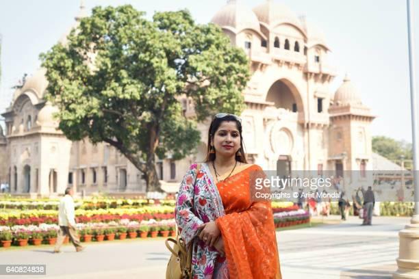A Woman Tourist Standing Front of the Balur Math at Kolkata