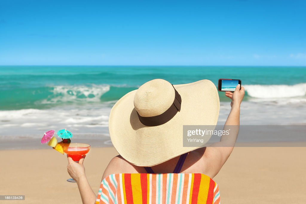 Woman Tourist Taking Beach Photo with Smartphone on Summer Vacation : Stock Photo