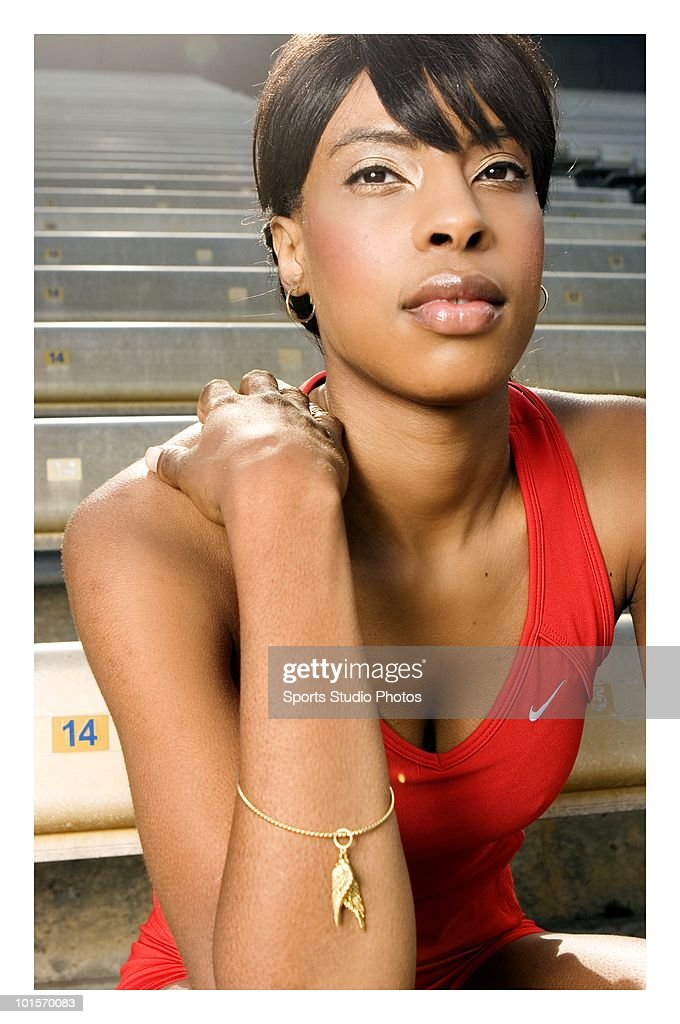Woman track and field athelete photographed circa 2009 in Southern California. (Photo by Toky/Sports Studio Photos/Getty Images).