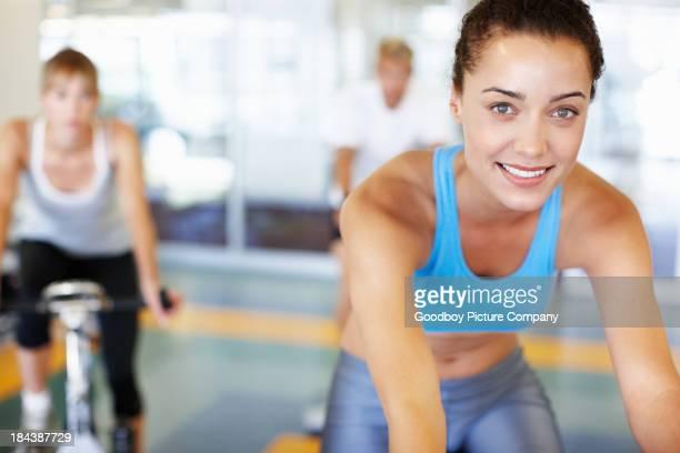 Woman training on a bike