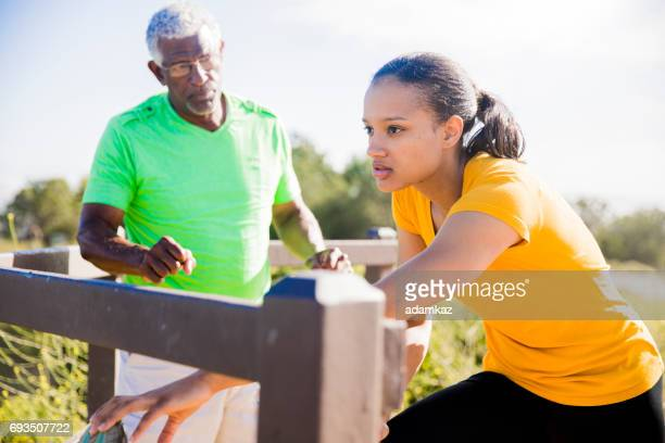 A woman training with her trainer