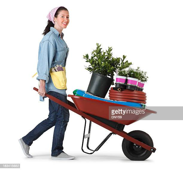 woman transporting plants and gardening implements in a wheel barrow - wheelbarrow stock photos and pictures