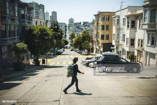 woman traveler in san francisco - san francisco california stock pictures, royalty-free photos & images