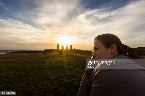 Woman Traveling in Easter Island
