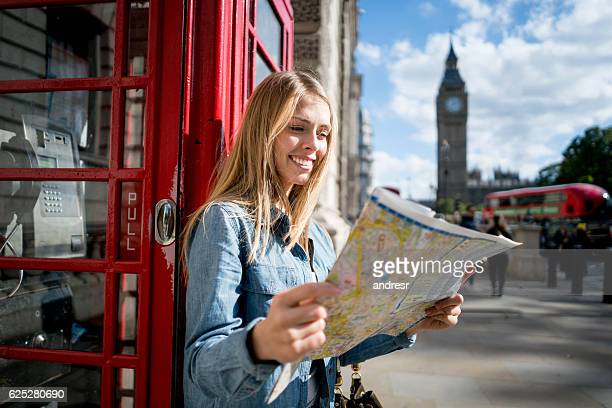 Woman traveling in London