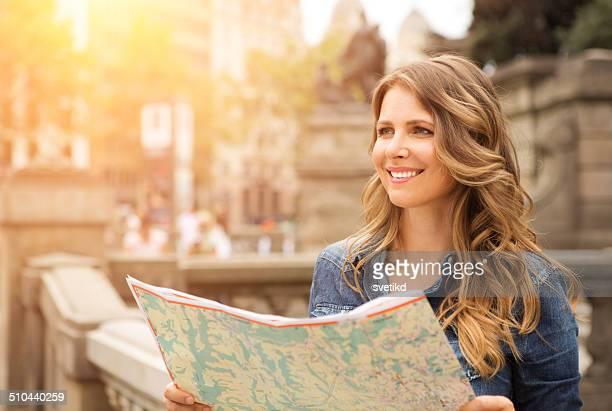 Woman traveling.