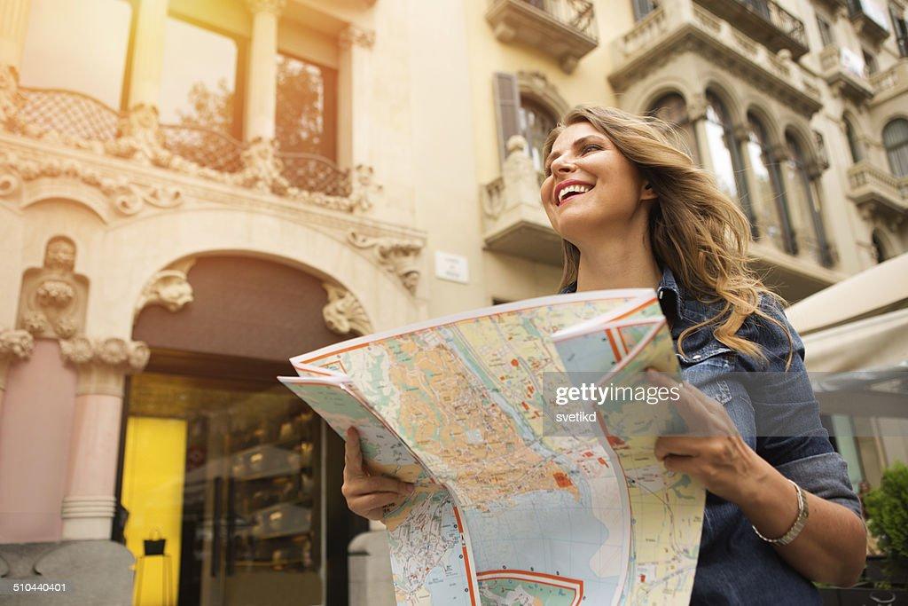 Mulher Viajando. : Foto de stock