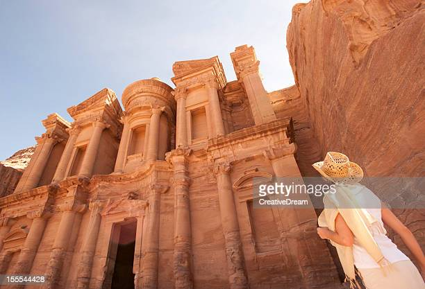 woman traveller at ruin. - jordan stock pictures, royalty-free photos & images