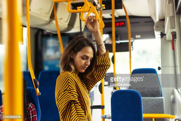 woman travelling by bus - denmark stock pictures, royalty-free photos & images