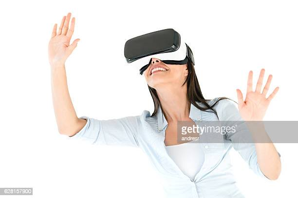 Woman trying a VR device