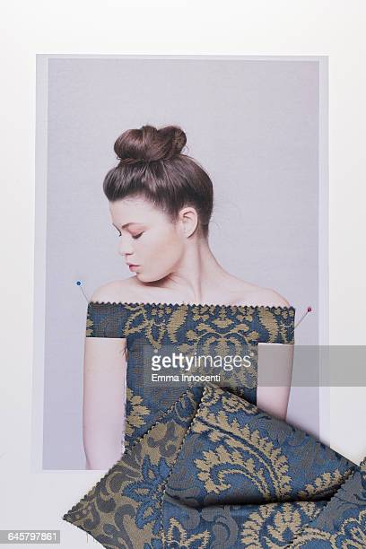 woman trying on a dress - gold dress stock pictures, royalty-free photos & images