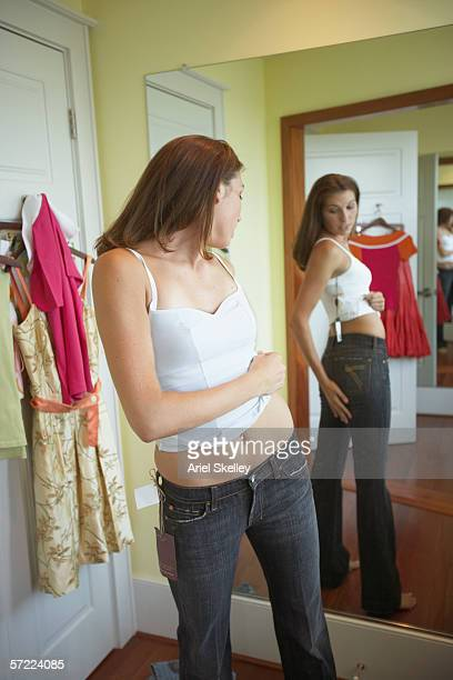 Woman trying on clothing