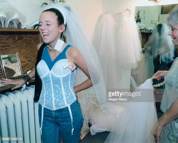 Woman Trying on Corset
