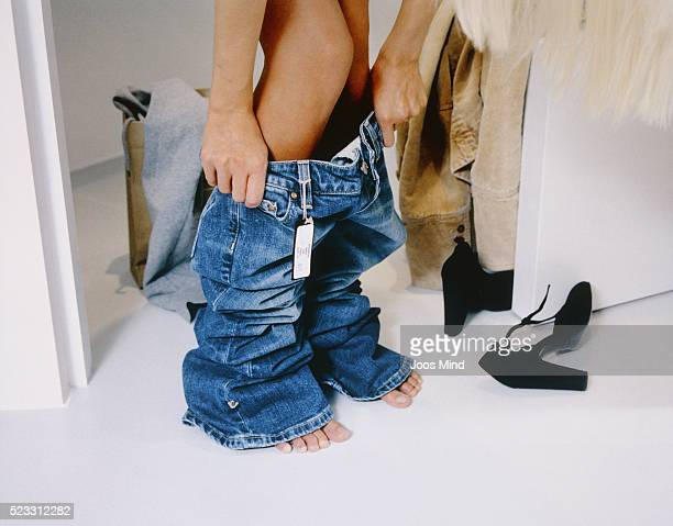 Woman Trying on Jeans
