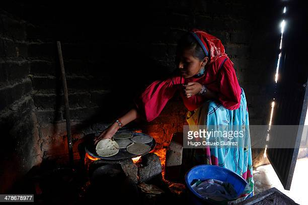 Woman turns a corn tortilla on a clay comal. The Wixarika people are one of five tribes that still prevail in Mexico. The ethnic Wixarika have large...