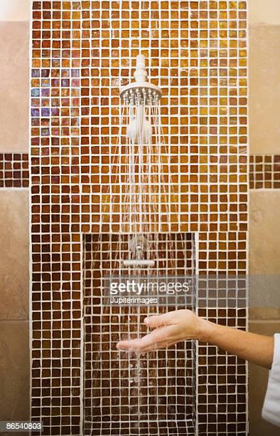Woman under shower