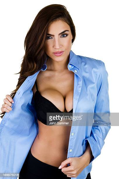 woman undressing - big cleavage stock photos and pictures