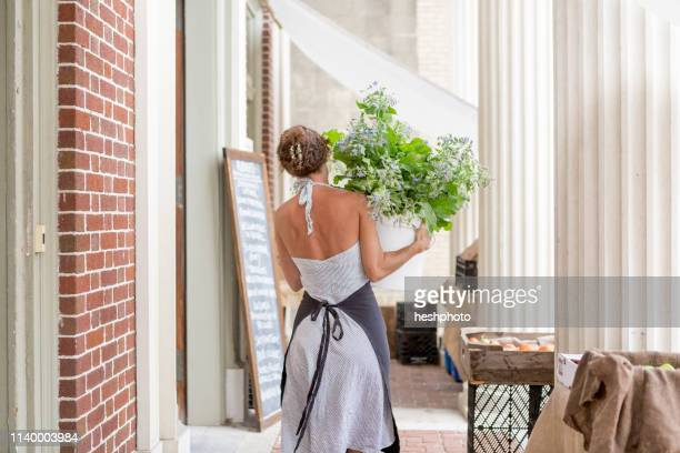 a woman unloads organic goods outside a grocery store - heshphoto stock pictures, royalty-free photos & images
