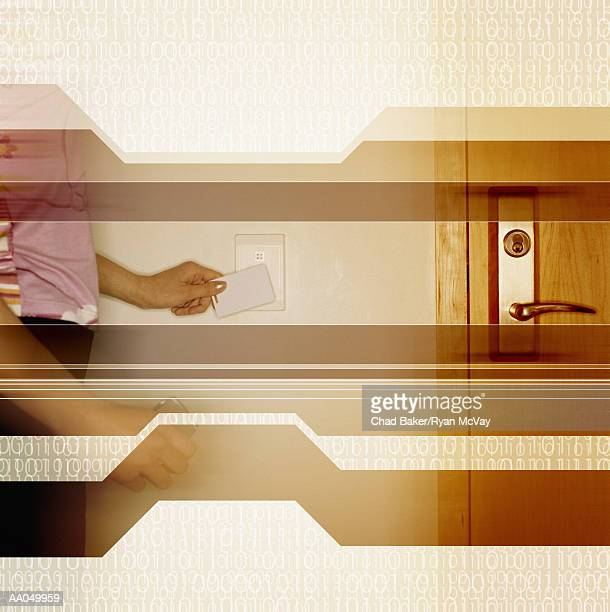 Woman using a keycard to open door, mid section digtial composite